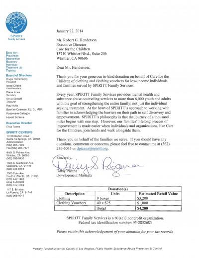 Letter 50 - SPRITT Family Centers